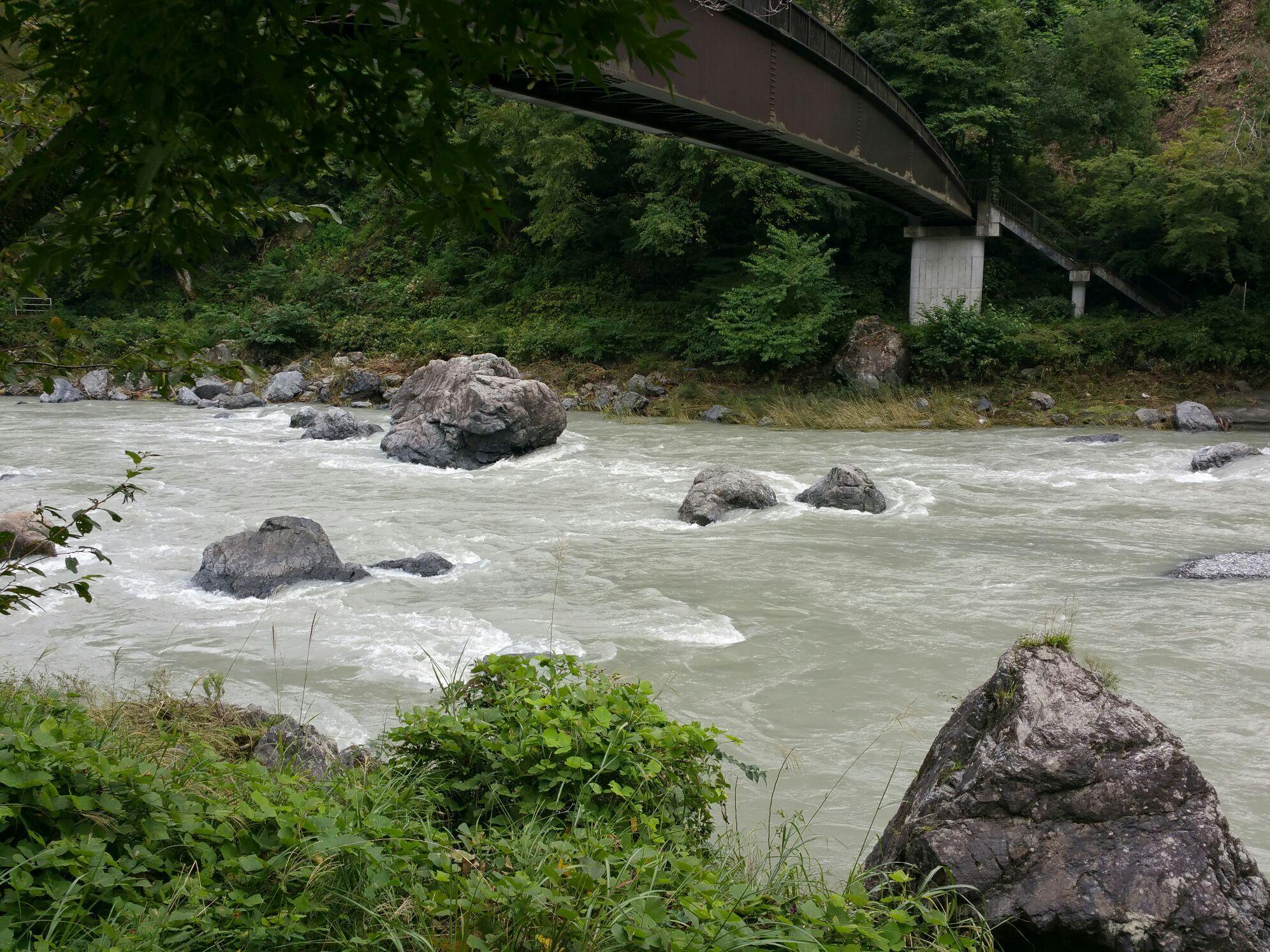 多摩川は増水して